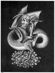 Anxiety is a dragon, Dragon by M.C. Escher